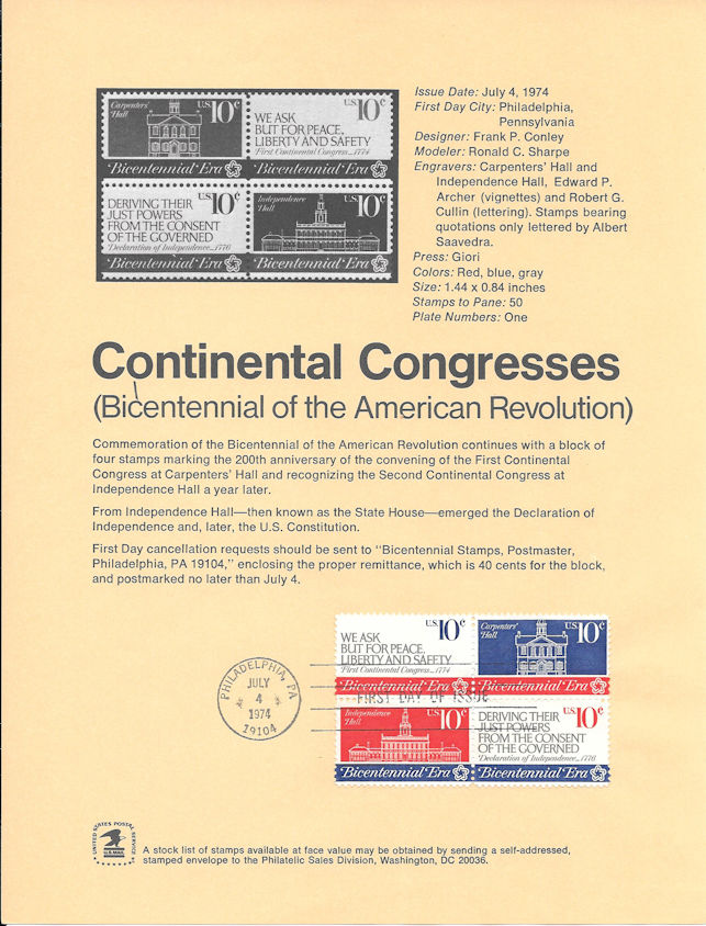 1543-46-10c-Continental-Congress-Stamp-Poster-Unofficial-Souv-Page-Fd-MC